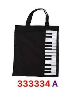 音樂keyboard圖案手提布袋 music keyboard bag - A: Black color 黑色,純綿質料,可放簿身A4書籍紙張