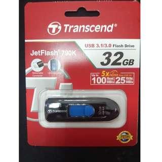 創見 JetFlash 790K 32G 隨身碟 USB3.1 黑/藍 最高讀100M Transcend