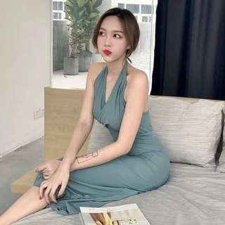 Vintage Jade Open Back Dress
