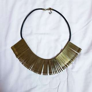 Gold pin bib necklace