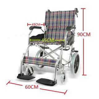 全新現貨 鋁合金架,超輕10kg, 耐磨格仔牛津布有軟塾 有刹車功能 Brand NEW Foldable Wheelchair