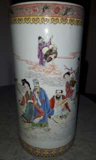 19TH CENTURY 1980S CHINESE UMBRELLA VASE STAND WITH DAOIST 8 IMOTTALS