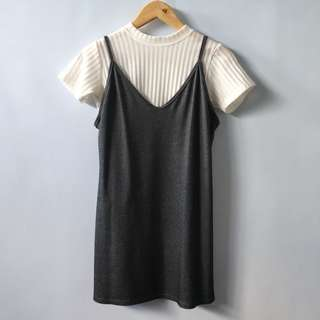 White Ribbed Top w/ Gray Pinafore Dress