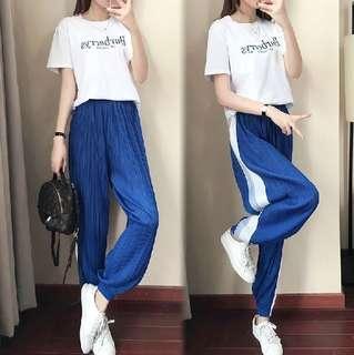 81004 #新款時尚短袖+闊腿褲兩件套  颜色:藍色  尺码:S M L XL