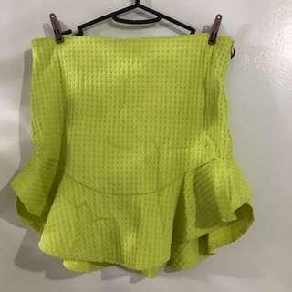 ZARA Green Ruffle Skirt