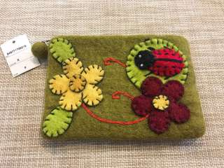 🚚 日本帶回手工縫製可愛小瓢蟲呢絨化妝包收納袋雖身置物小袋卡片袋