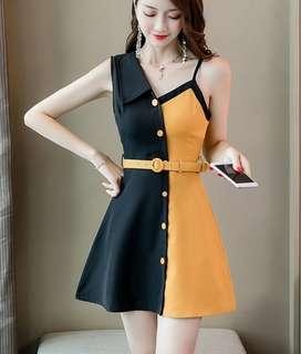 81010 #露肩無袖單排釦拼色高腰修身連衣裙  尺码:S M L XL  颜色:圖片色