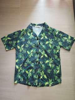 [Instock] Green Palm Leaves Buttom Down