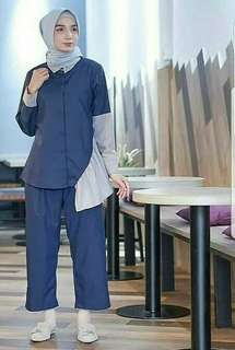 Alifa Set2in1 Navy ( Blouse + Pants )