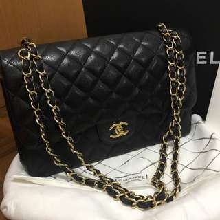 Chanel Classic Double Flap Jumbo Black Caviar with GHW