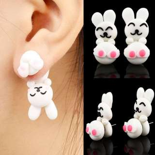New Popular Fashion Creative Jewelry Women Lady Girl Handmade Polymer Clay Soft Cute Animal Rabbit Pottery Earrings Animal Piercing Ear Stud Earring Party Gifts Accessories