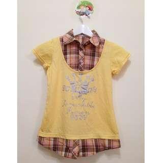 🚚 Petit Kids專櫃 假兩件格紋 童上衣