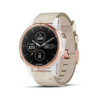 🚚 Garmin, fenix 5S Plus Sapphire (Rose with Leather White Band) - 1 Year Local Warranty