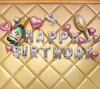 (INSTOCK) Happy Birthday Foil Balloon Set