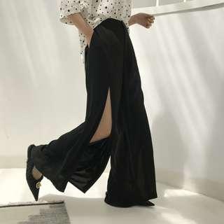 VM 2018新款 OL氣質時尚女王 顯瘦寬鬆 百搭高腰垂感 開叉闊腿長褲