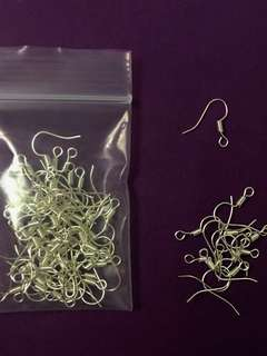 20 pieces Earring hook bright silver colour