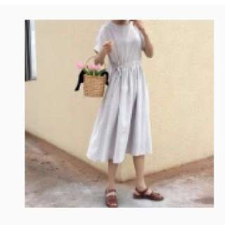🚚 法式 收腰 棉麻洋裝
