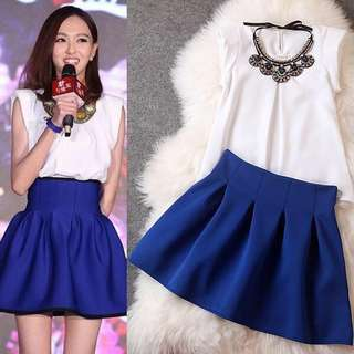 White Top Blue Skirt terno