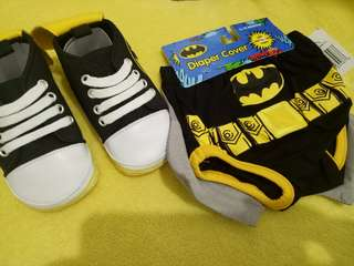 Batman baby diaper cover with matching shoes