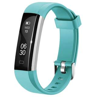 32.Lintelek Activity Tracker, Slim Fitness Tracker Watch, Touch Screen Bluetooth Pedometer Smart Bracelet with Anti-lost Strap for Android Phone or iPhone