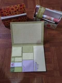 Bundle: Vintage floral Stationery writing set + sticky note folio set