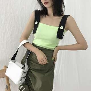 VM 夏季百搭 復古粗肩帶(肩帶可拆卸) 拼色設計 短版貼身背心 2色