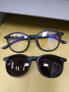 防藍光眼鏡,防紫外線, 可作太陽眼鏡,有磁力,日本仔眼鏡