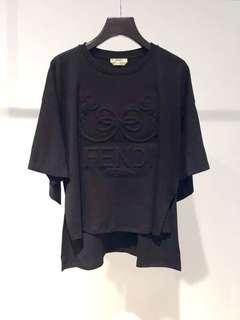 Fendi Top Bow Cotton Jersey Tee 前短後長 立體印圖 歐洲購入 不提供單 可陪驗 Size:38,40,42 Real and New