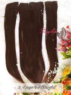 hairclip 3 layer light brown