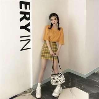 🚚 韓版黃色窄版格子裙