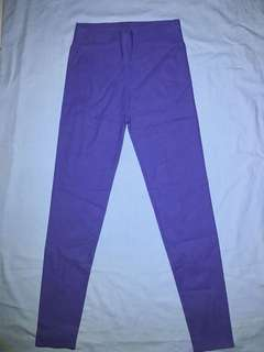 purple high waist stretch pants