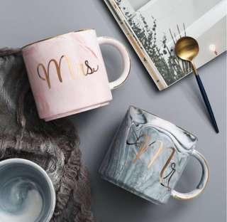 • READY STOCK • Scandanavian Couple Marble Mug (Mr & Mrs)