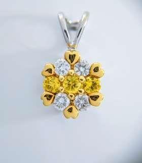 黃寶石鑽石吊墜 Yellow Sapphire Gold pendent with Diamonds
