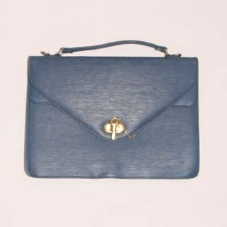 VINTAGE Blue Textured Genuine Leather Laptop Bag / Case