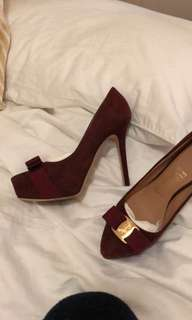 Ferragamo suede high heels, wore once only