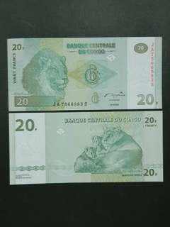 Congo Democratic Republic 20 Francs 🇨🇩 !!!