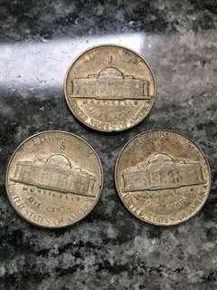 1943 1944年 含35%銀 的 美國 5 cents 3枚