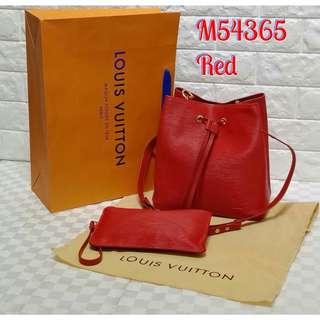 Louis Vuitton Neo Noe EPI Drawstring Shoulder Bag Red Color