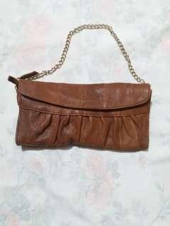 啡色羊皮銀包+手袋+斜咩袋