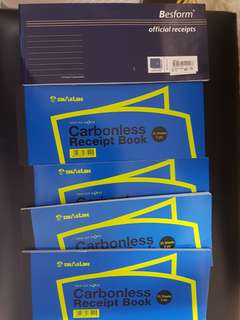 Brand new receipt books with Carbonless backing duplicate copy
