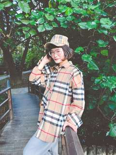 🚚 Vii&co Burberry格紋 寬鬆襯衫 冬天毛料材質