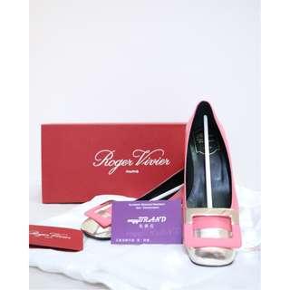 全新 ROGER VIVIER 粉紅色 配香檳金色 皮革 方扣 高跟鞋 高踭鞋 鞋 Pink Leather Gold Shoes Highheel