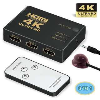 3 Ports 4K HDMI Switch Selector Switcher Splitter Hub with Remote Control 3in1