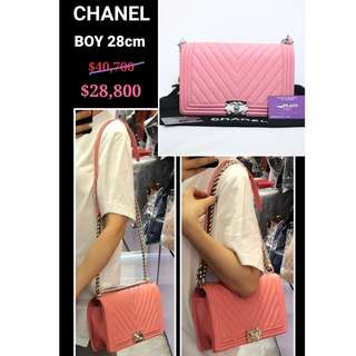 90% New CHANEL A92193 Boy 粉紅色 牛皮 銀鏈 CC Logo 手提袋 肩背袋 手袋 Flap Bag Pink Calfskin Handbag with Sviler Hardware