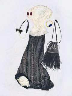 French Floor Length Skirt - Victorian Style Walking Skirt - Romantic Flowy Maxi Layered Skirt