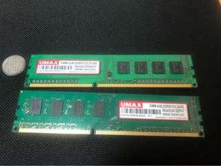 🚚 賣UMAX記憶體 一隻4G有2隻一起帶走1000
