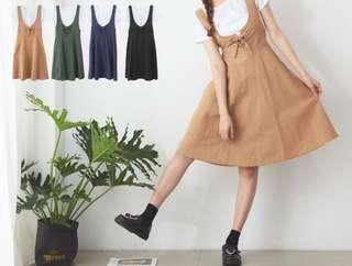 韓版彈性棉T+交叉領背心裙套裝 四色