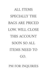 ALL ITEMS MUST GO! REPRICED ALL ITEMS. PM ME FOR INQUIRIES