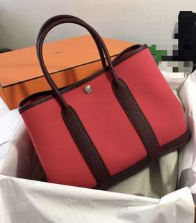 全新 Hermes Garden Party 30 Canvas Leather 靚色 Rose Extreme (Canvas) x Bordeaux (Leather) Stamp A Bag Handbag