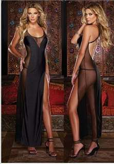 Secret Black Transparent Long Nightwear Polyester New Arrival